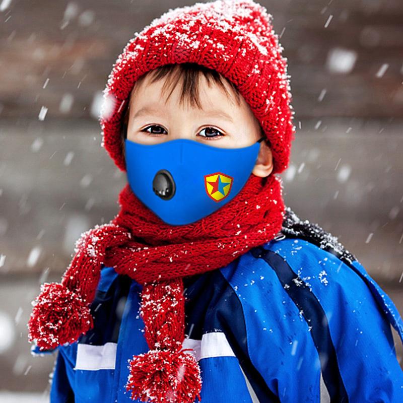儿童口罩男童女童可水洗防寒保暖秋冬季立体卡通防护透气带呼吸阀