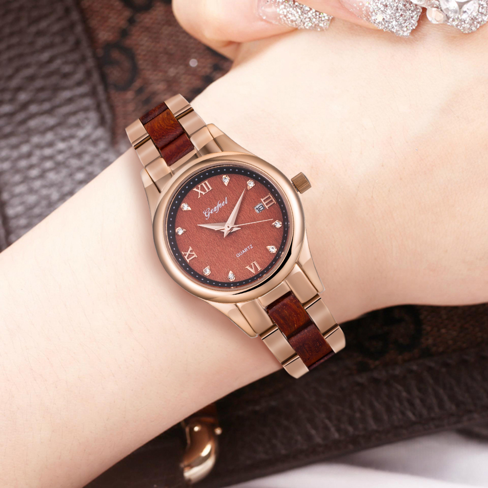 Goffel watch fashion stainless steel sandalwood watch factory direct sale female waterproof quartz watch Taobao selection