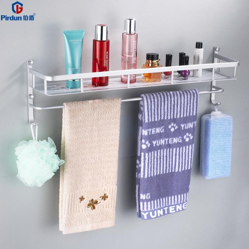 伯盾太空鋁浴室置物架衛生間置物架毛巾架廁所壁掛雙層洗漱架子