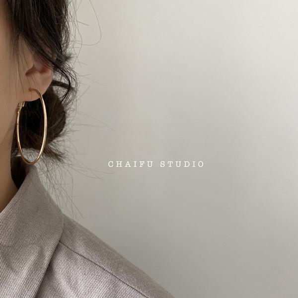 Chaifu studio /R306 INS风极简冷淡百搭优雅气质百搭耳环耳圈图片