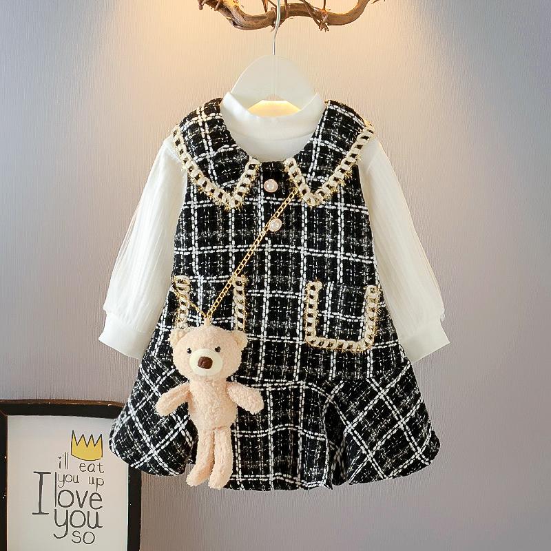 童装女童小香风套装2020秋季韩版长袖连衣裙宝宝背心裙洋气两件套