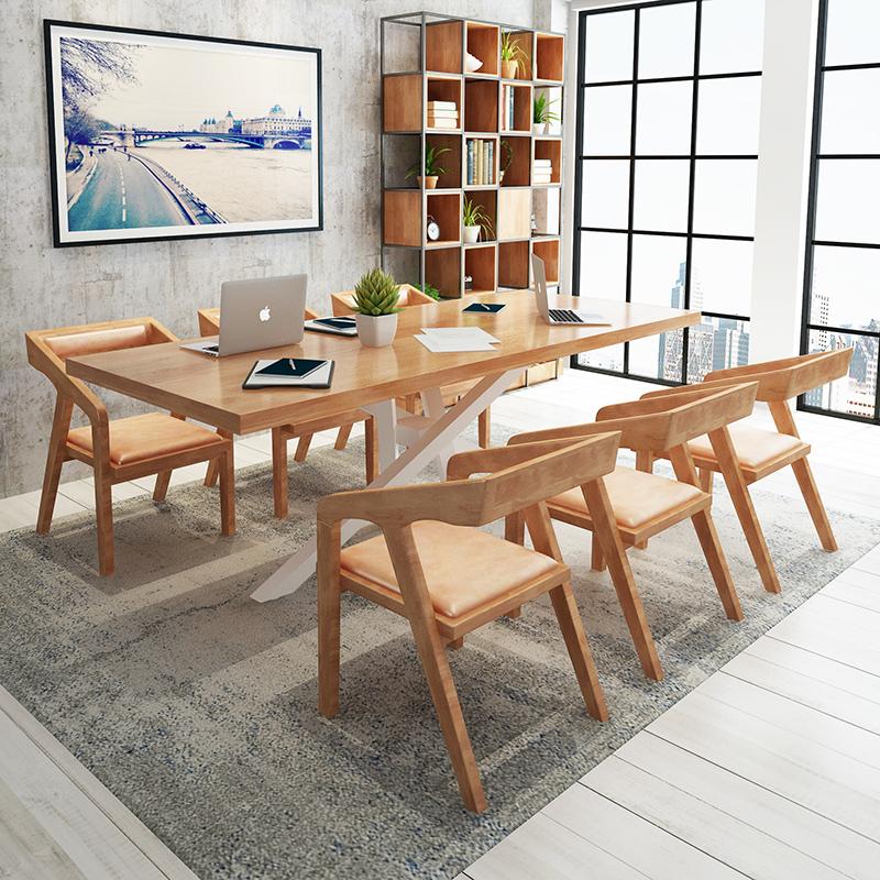 LOFT北欧实木会议桌长桌简约现代创意办公桌小型会议洽谈桌椅组合