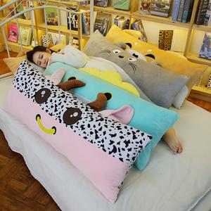 可爱小牛双人枕头女生睡觉长条抱枕大靠垫毛绒玩具奶牛公仔可拆洗