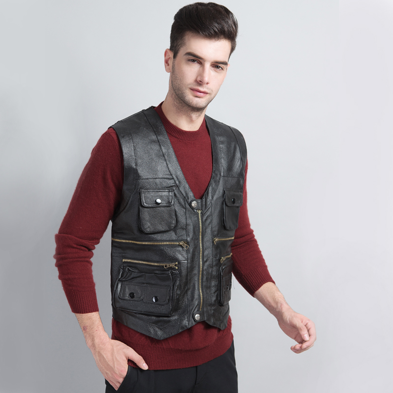 Wool vest, mens fur, one body, middle aged and old peoples shoulder, leather, sheepskin, warm and thickened cotton vest, autumn and winter fathers clothes