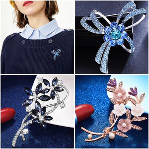 时尚简约人工珍珠海星雪花胸针女士韩版开衫胸花领针大别针丝巾扣