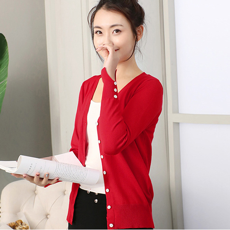 New simple basic solid versatile cuffs split Flower Button knitted cardigan jacket for women
