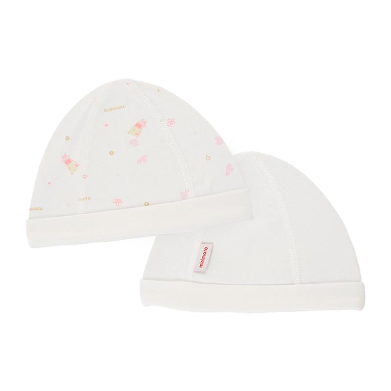 小米米minimoto 嬰兒寶寶舒適初生兒帽子 新生兒胎帽 2個裝