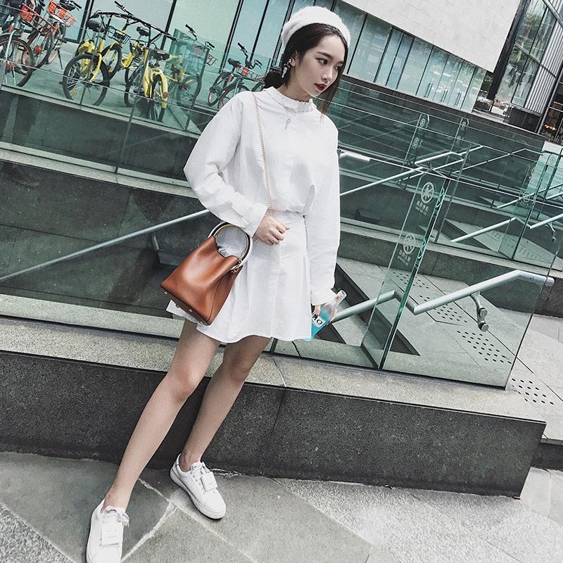 Hanna autumn 2017 new style waist closing cotton shirt dress slim long sleeve skirt summer womens dress