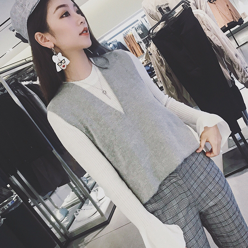◆ Anna ◆ 2017 new sweater vest wearing vest sleeveless short sweater womens spring and autumn coat