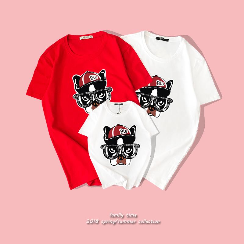 Детской одежды лето семья короткое платье рукав 2018 новый один семья из трех человек собака год натальный праздник хлопок отцовство T футболки
