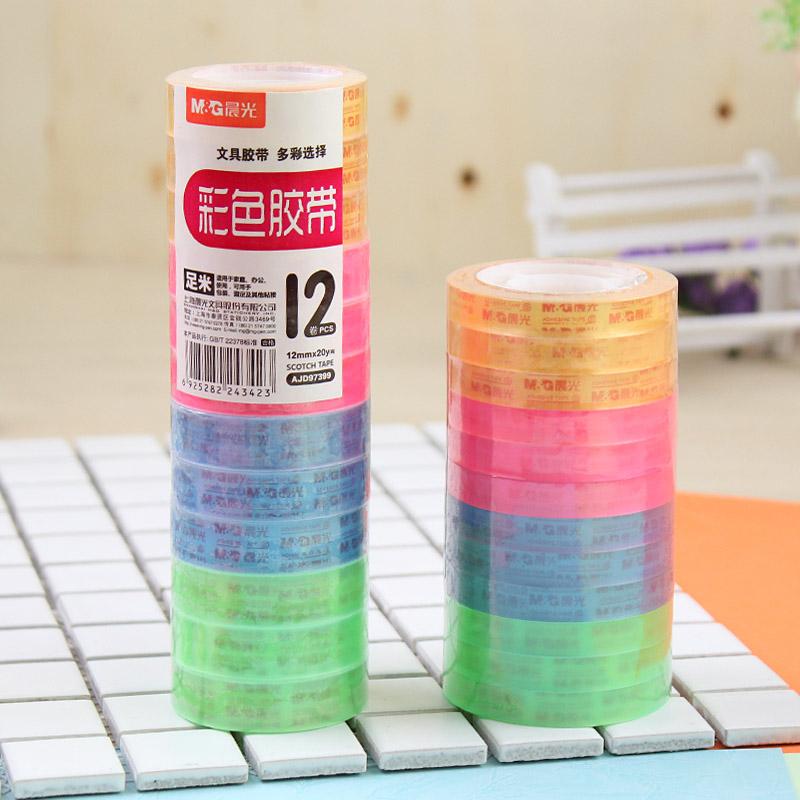 晨光透明彩色胶带文具胶纸小胶条学生修正改错字胶带 8/12mm宽,可领取1元天猫优惠券
