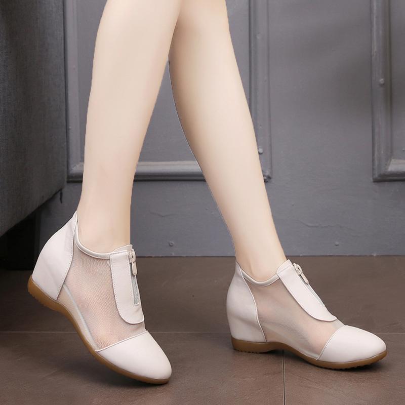 2020新款春秋内增高女鞋显瘦百搭坡跟单鞋夏真皮透气网鞋小皮鞋子