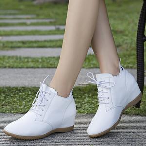 2021新款春秋小白鞋内增高女鞋坡跟百搭四季休闲真皮鞋子平底单鞋