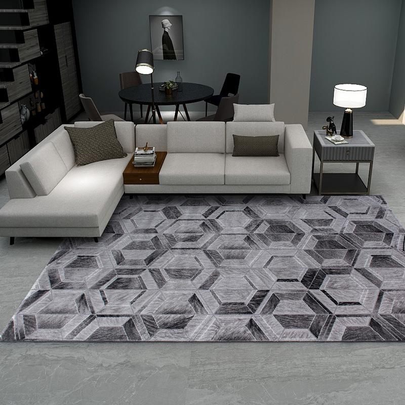 丽家现代简约客厅地毯黑灰几沙发茶几地毯何图案家用卧室毯耐脏