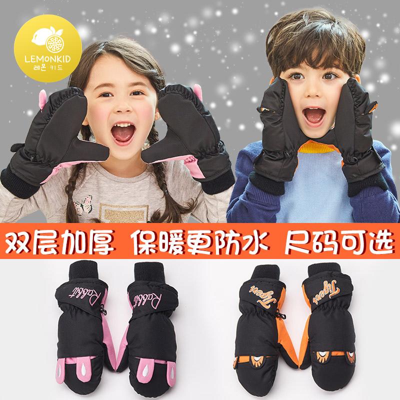 儿童手套男童女童秋冬季加厚保暖手套宝宝户外加绒小孩滑雪手套潮