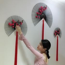 新中式壁饰铁艺壁挂扇子客厅餐厅墙面装饰墙上装饰品创意墙壁挂件图片