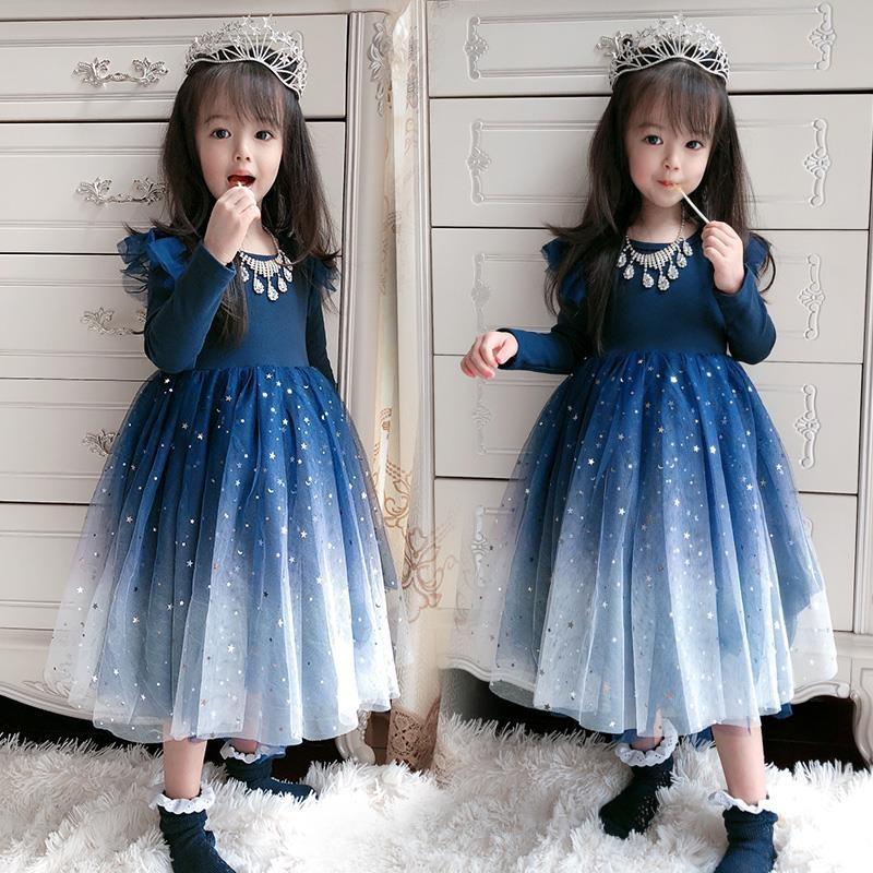 女童连衣裙蓝色星空礼服裙生日纱裙儿童女宝宝秋装新款洋气公主裙