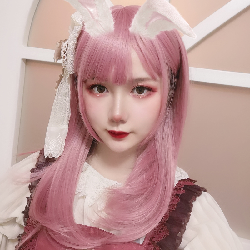 Wig female long hair Lolita daily pink medium long straight hair natural lifelike net red girl Lo false hair