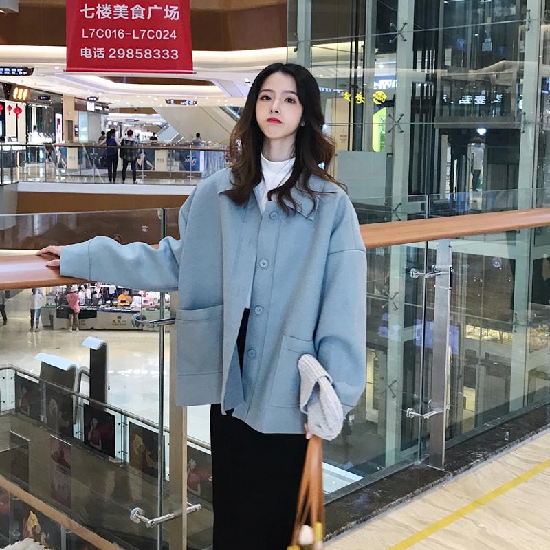 实拍秋季韩版新款简约复古宽松个性毛边翻领毛呢外套女