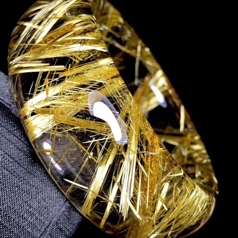 魅晶天然金发晶顺发钛晶水晶手镯 金顺发晶钛晶聚宝盆手镯