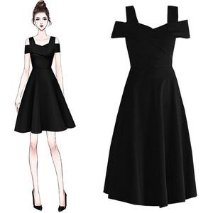一字肩连衣裙女春夏法式复古赫本风收腰气质露肩小黑裙礼服吊带裙