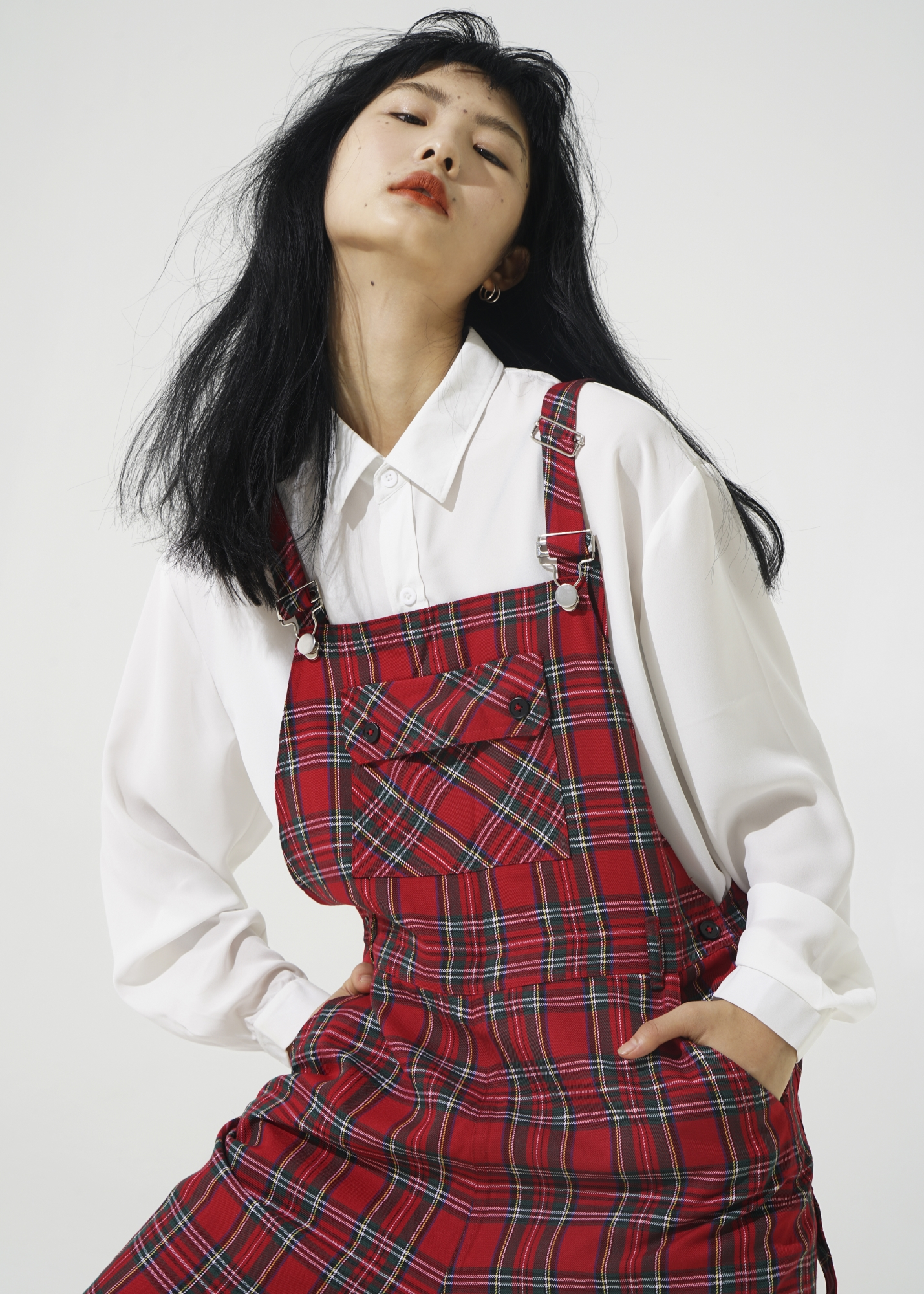 Yiniang homemade retro lovely loose British college style red plaid trousers