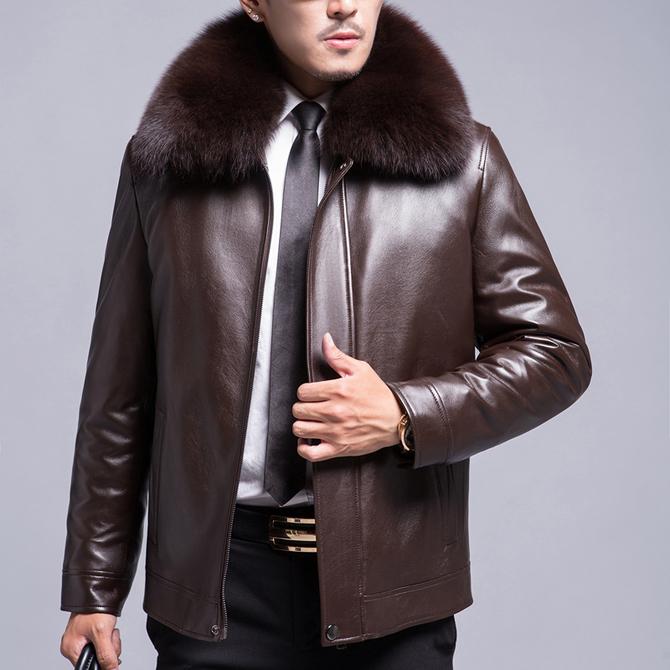 夹克男狐狸毛领皮外套男皮尼克服男加厚 皮衣男真皮 山貂毛内胆 冬季