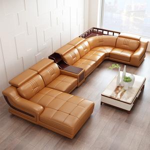真皮沙发 进口头层牛皮组合中厚皮质大户型转角皮艺沙发 客厅家具