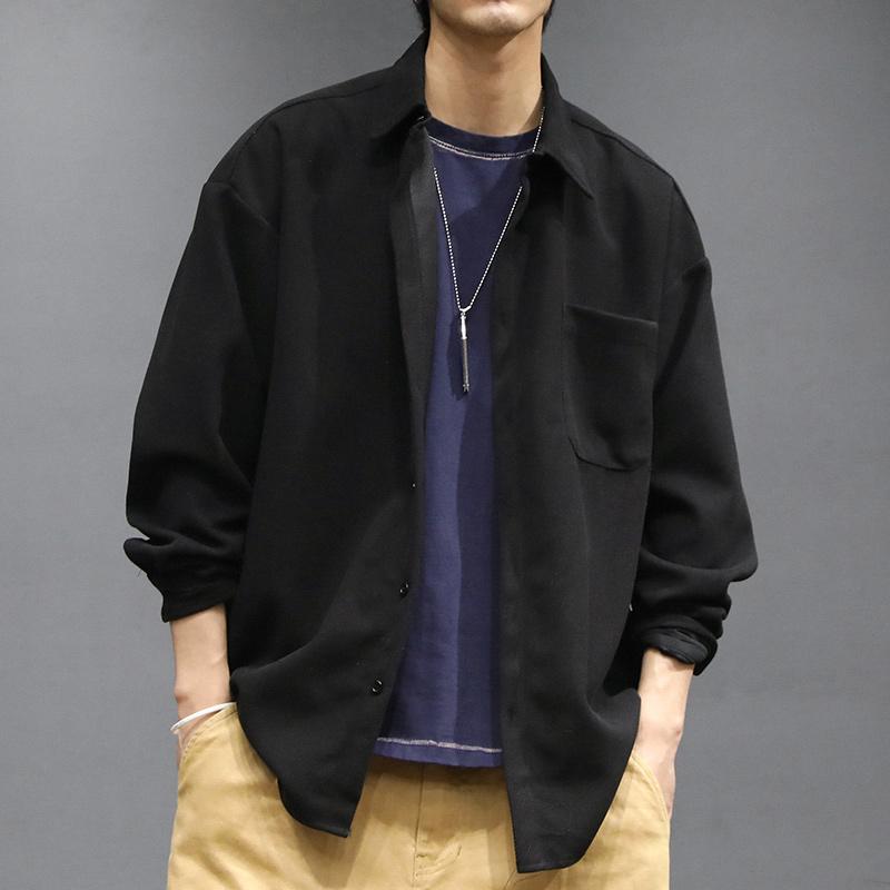 马切达黑色衬衫男春季薄款长袖学生韩版潮流修身帅气日系宽松外套