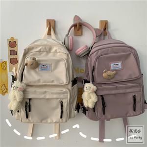 茶话会韩国ins工装学生港风街拍书包女原宿双肩包ulzzang旅行背包