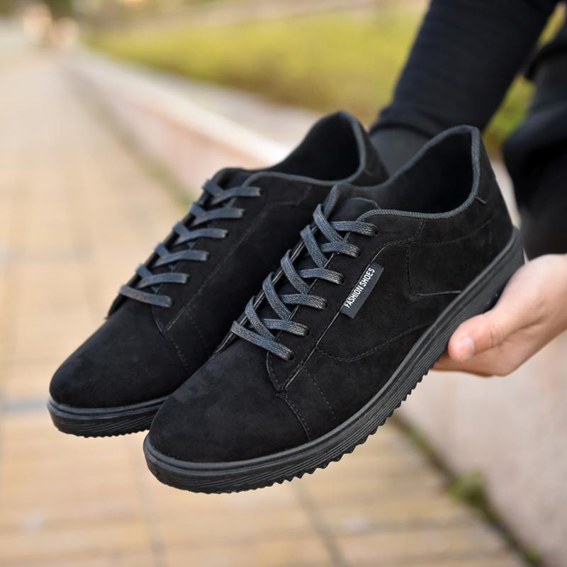 社會小夥潮鞋 男士帆布鞋板鞋 鞋男 鞋黑色低幫鞋男鞋子