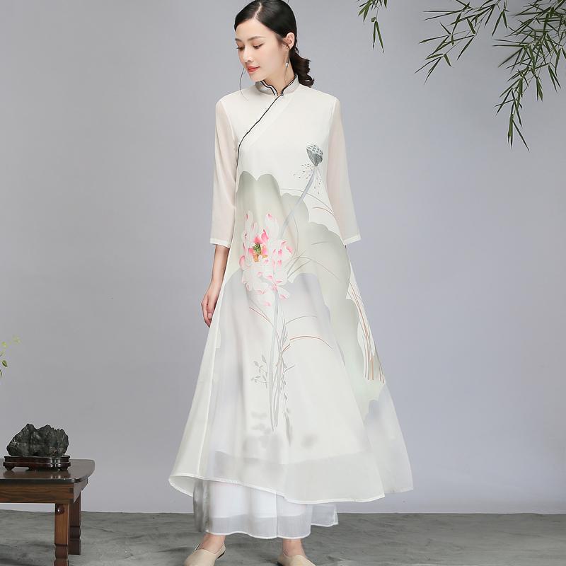 中国风秋季新式旗袍改良雪纺连衣裙茶服精品荷塘精细雪纺中式长裙