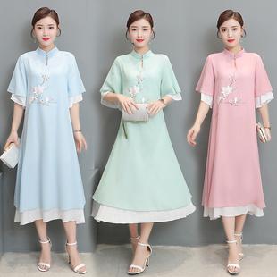 文艺中国风夏季夏装新款手绘民族风雪纺短袖长款改良汉服连衣裙