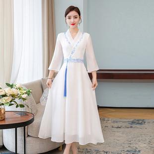 2020夏季中國風女裝刺繡復古改良漢服白色仙氣高腰長裙連衣裙