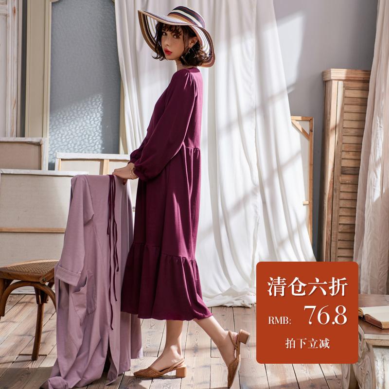128.00元包邮睡裙女秋纯棉长袖过膝长款秋冬性感两件套公主风睡衣长裙外套披风