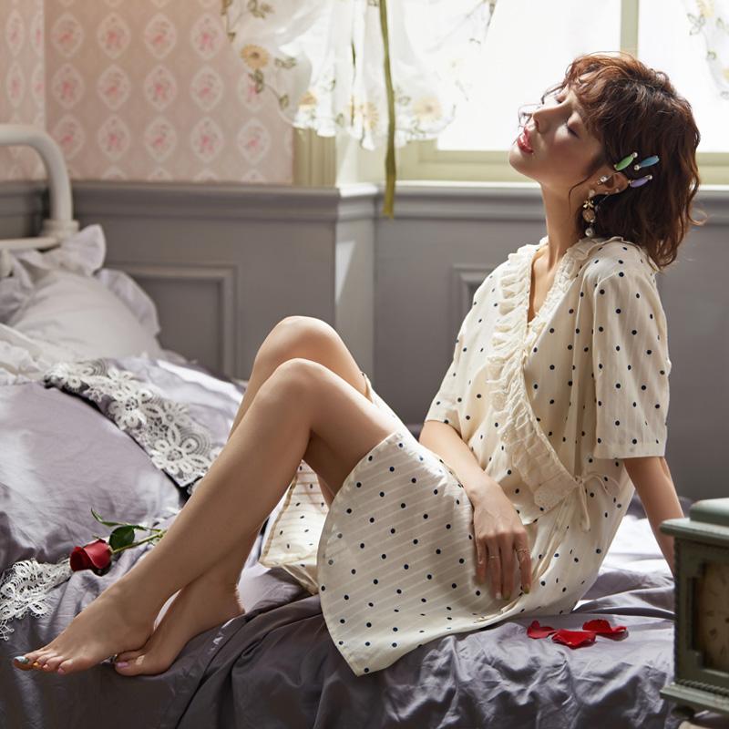 日式睡裙夏季梭织纯棉白色仙女和服券后98.00元
