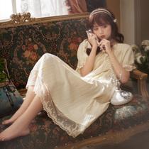 睡裙女夏季纯棉短袖公主风宫廷仙女风很仙的睡衣过膝脚踝长款长裙