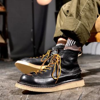 马丁靴男工装靴子短脸英伦风中帮高帮真皮皮鞋潮流复古拼色短靴