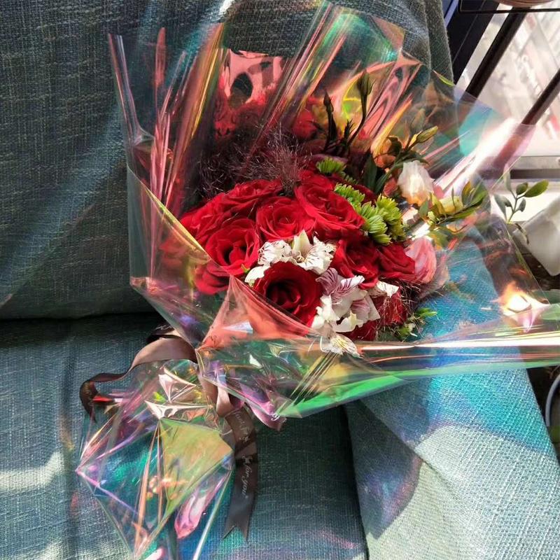 スライドレーザーガラス紙レインボーコート花ギフト包装紙新素材花屋祭り用品