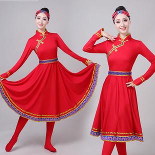 2019女新款成人少数民族演出服装表演服饰广场大摆裙蒙古舞蹈服装