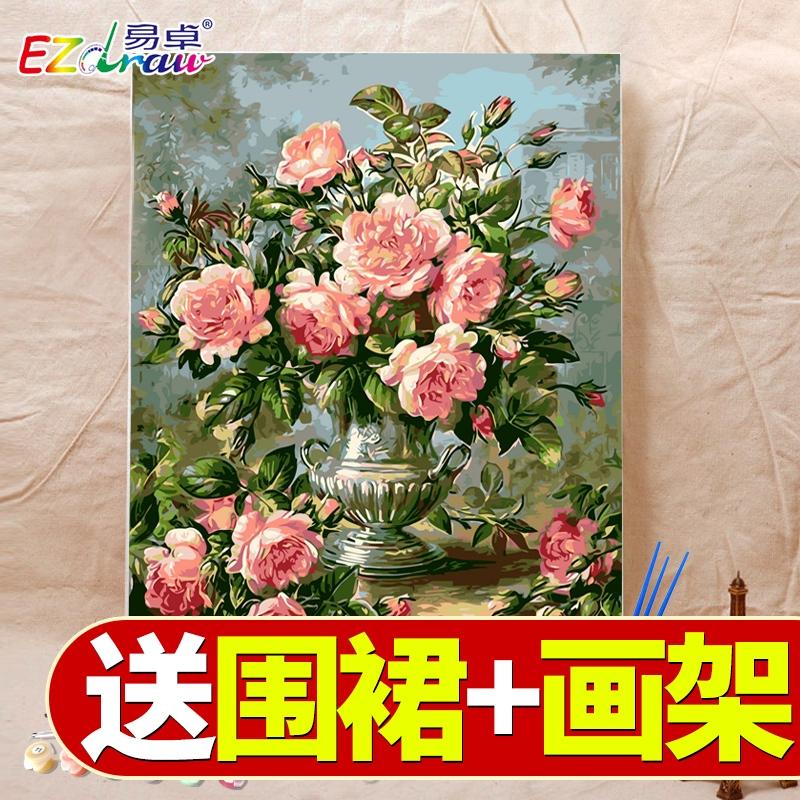 diy数字油画水彩涂色填充减压挂画手工填色画手绘客厅装饰油彩画