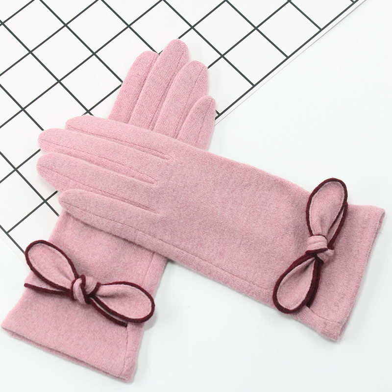 Wool gloves women warm in winter and autumn lovely Korean spring and autumn thin Japanese ins driving touch screen simple cashmere