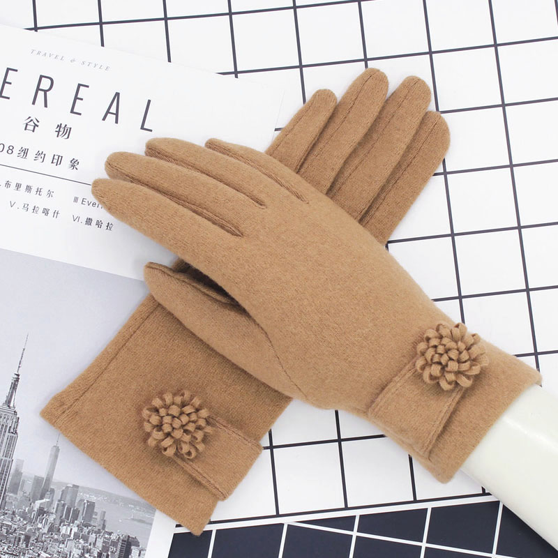 Wool gloves womens touch screen thin warm winter Korean version cashmere autumn winter gloves thickened cycling