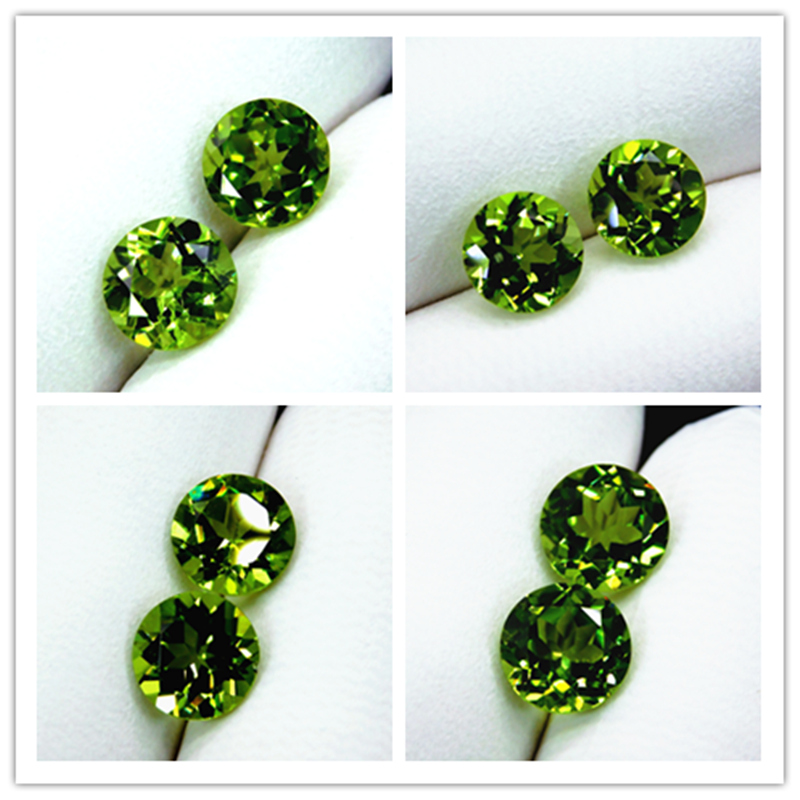 Natural emerald chrysolite naked stone pair ring ring face pair Round Diamond Earrings video display package