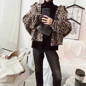 2018冬季新品女装 韩国格纹兔毛仿貂 豹纹精品仿貂女士毛呢外套