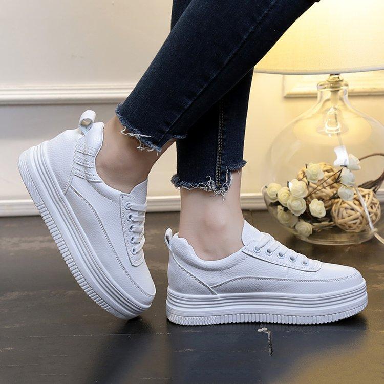 夏季新韩版小白鞋女厚底百搭透气系带内增高运动鞋休闲板鞋单鞋秋