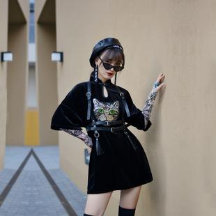 扇妒自制改良旗袍国潮年轻款少女日常短款朋克风连衣裙2021年新款