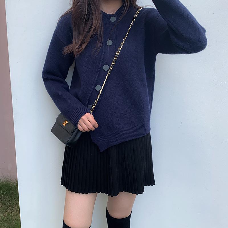 糖安妮  藏青色不规则开衫毛衣女上衣兔绒包芯纱外套精品秋冬新款