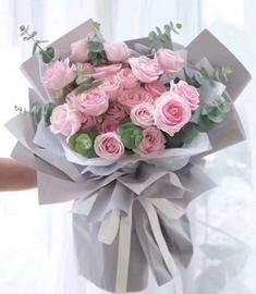 33粉玫瑰鲜花束云南开远蒙自弥勒市文山景洪店同城配送上门女朋友