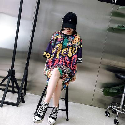 摇滚女装原宿潮字母短袖T恤朋克中长款大码连身裙3D图案帅酷上衣